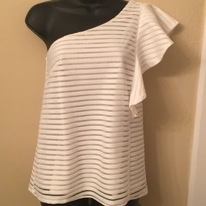 """One Sleeve White Top by """"Cremieux"""" is Gorgeous!!"""